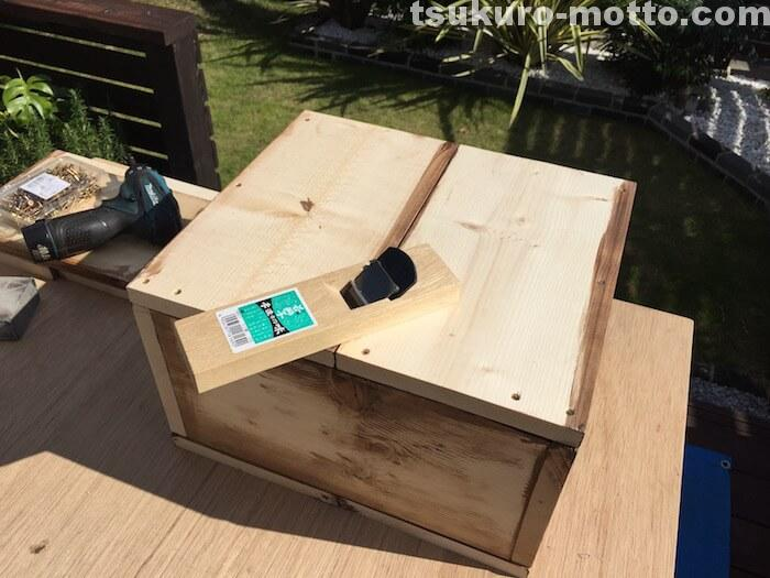 木箱DIY カンナ処理