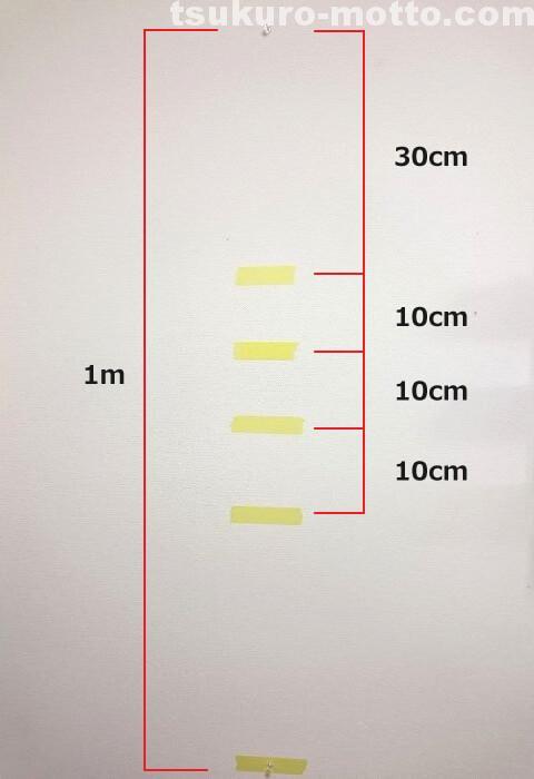 マスキングテープを貼る位置
