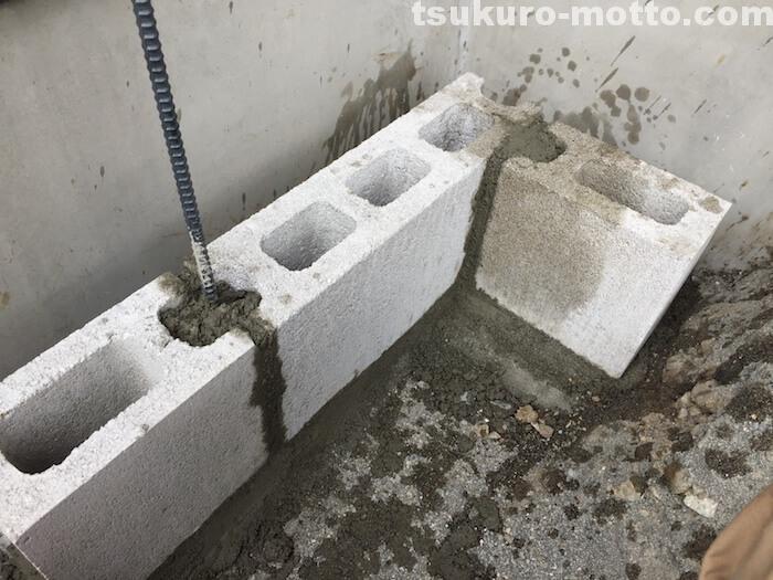 モルタルでブロック連結
