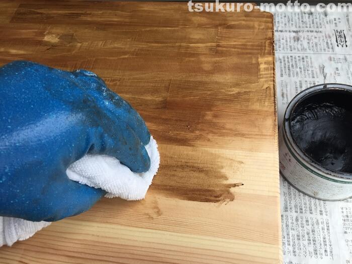 スチールラックリメイク ブライワックス塗装3