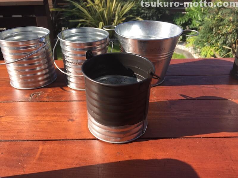 100均ブリキ缶リメイク プランター アイアン塗装3