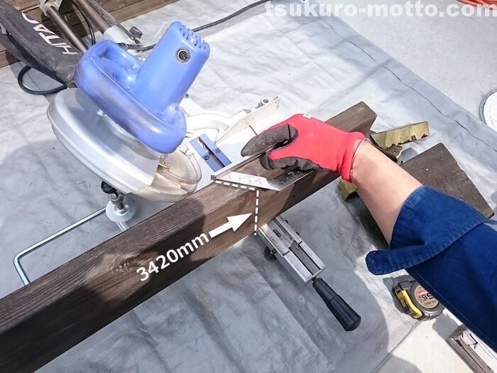 ウッドデッキ製作 枠加工1
