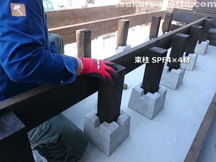 ウッドデッキDIY 束柱の取り付け1