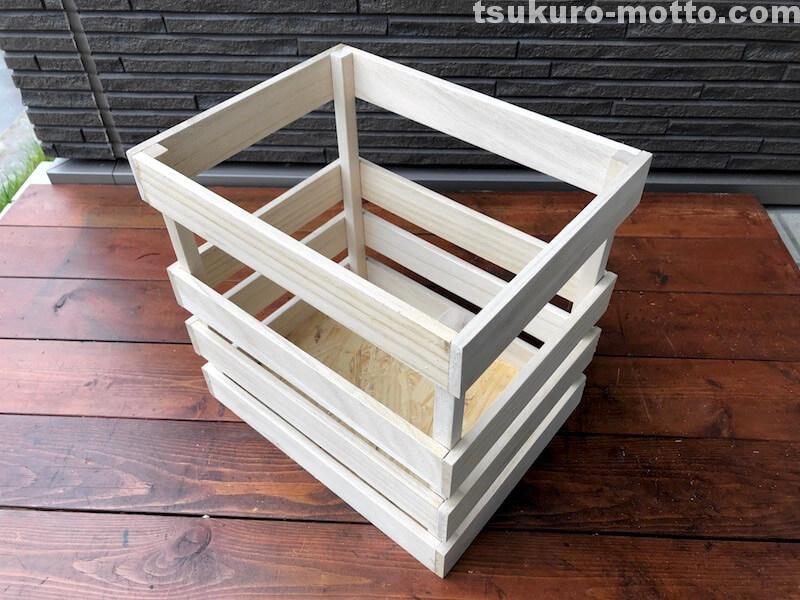 セリア100均深型木箱 組立完成