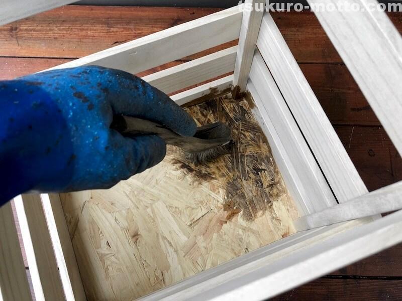 セリア100均深型木箱 塗装2