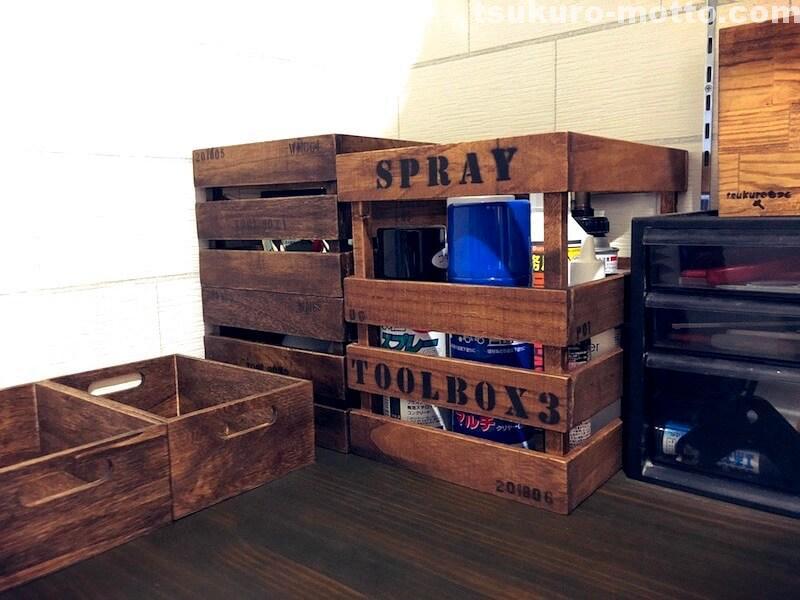 セリア100均深型木箱 完成2