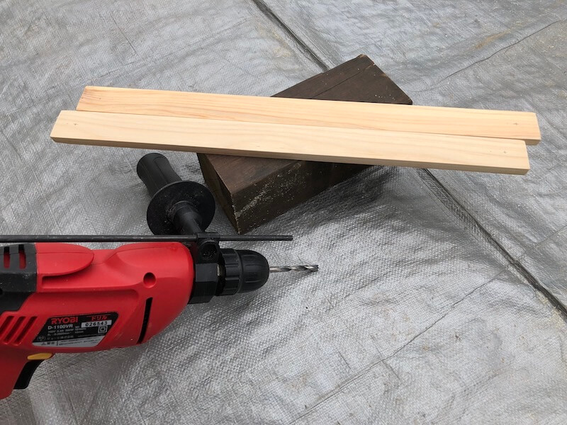 100均木材 キャンピングテーブル フレーム部材製作2