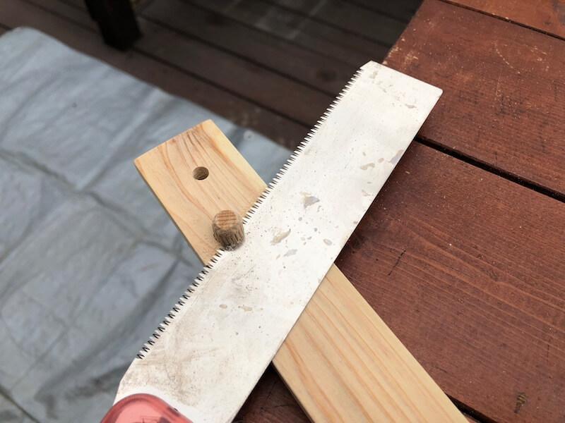 100均木材 キャンピングテーブル フレーム部材製作10