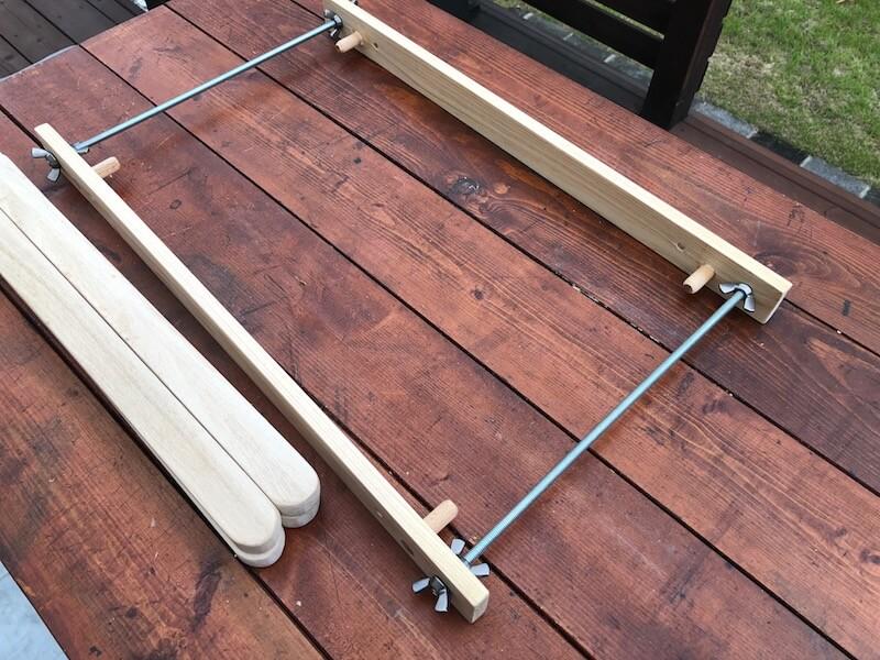 100均木材 キャンピングテーブル フレーム部材製作11