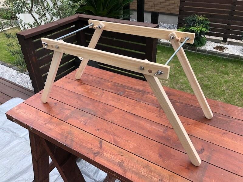 100均木材 キャンピングテーブル フレーム部材完成