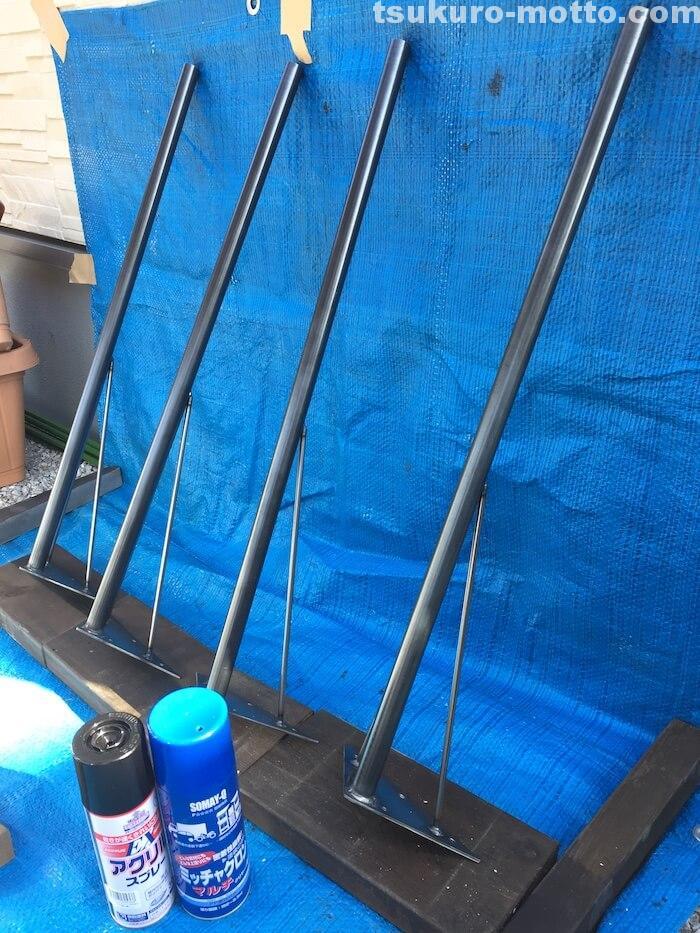 ダイニングテーブルDIY 鉄脚塗装2