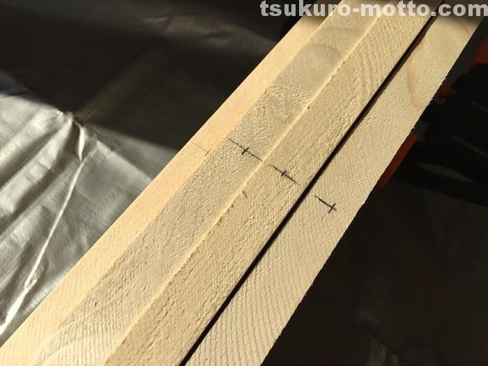 カフェ風ダイニングテーブルDIY ダボ穴の印2