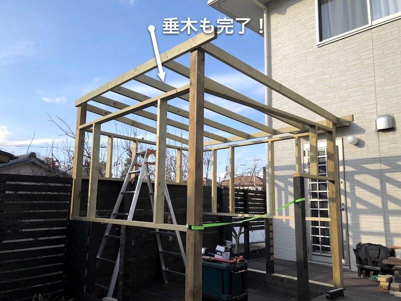 DIY工房をDIY 屋根を組む13