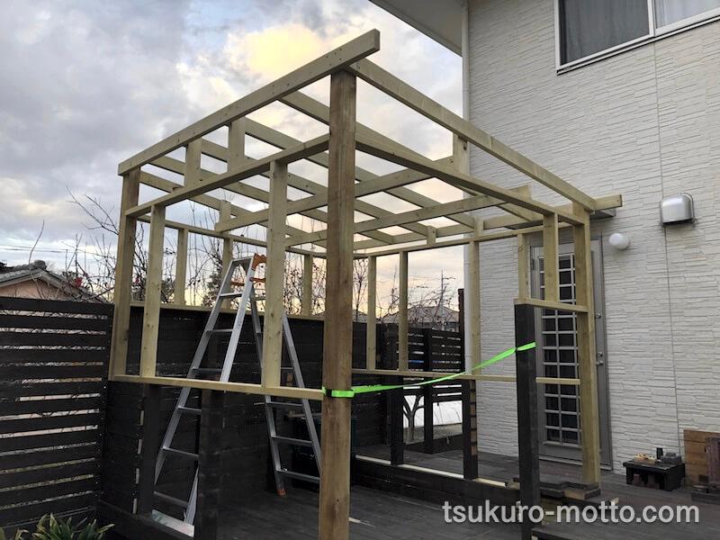 DIY工房をDIY 屋根を組む 作業終了1
