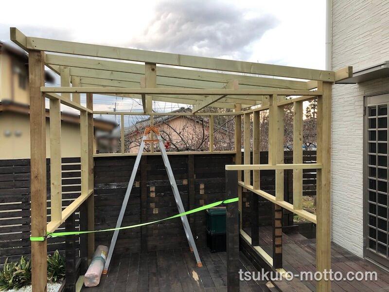 DIY工房をDIY 屋根を組む 作業完了2
