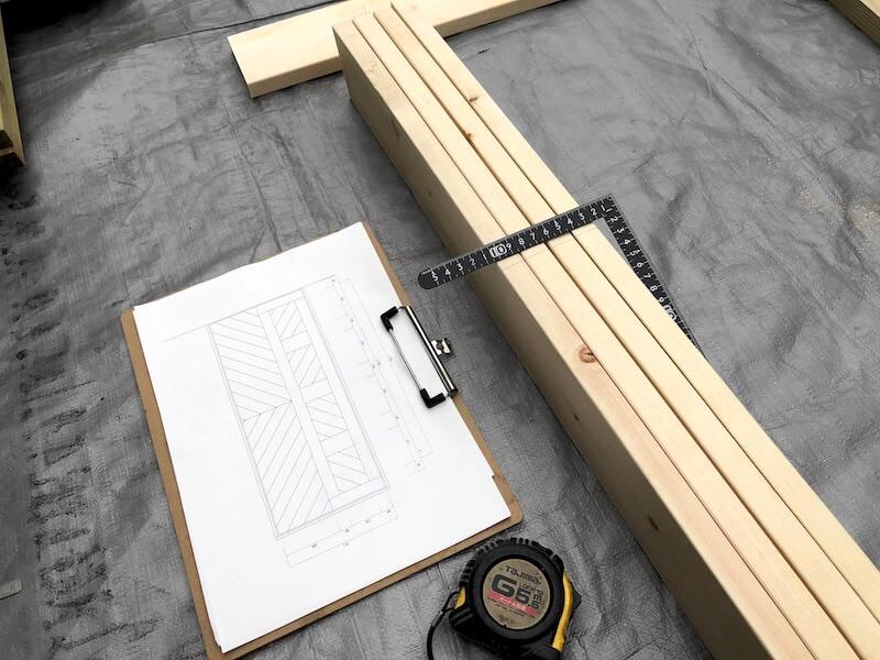ヘリンボーン扉DIY 枠の製作2