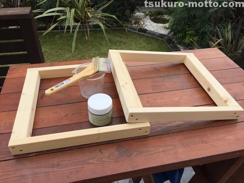 マニッシュ端材テーブルDIY 脚塗装1