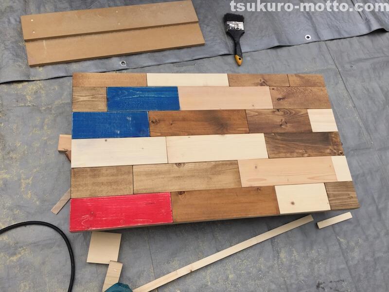 マニッシュ端材テーブルDIY 天板仕上げ3