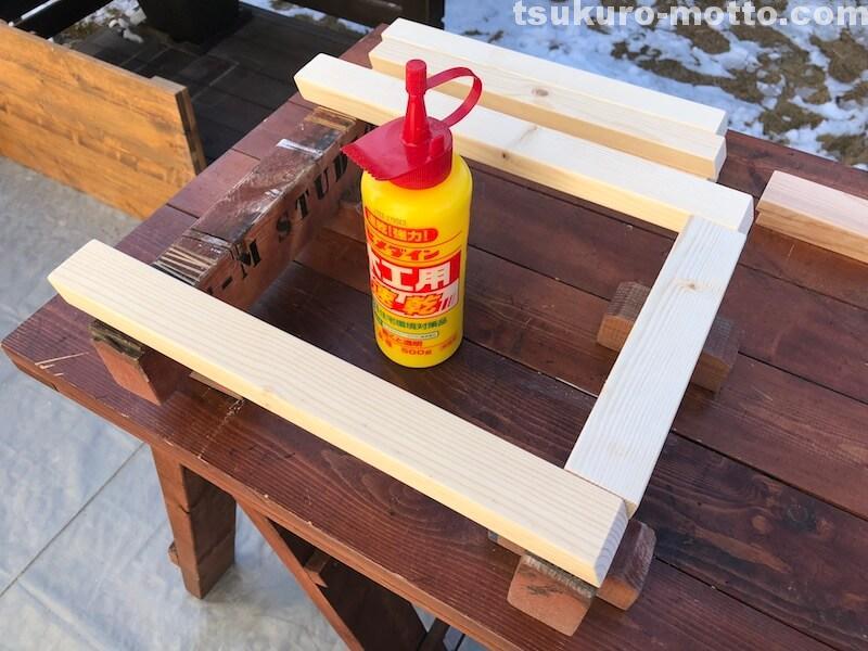 シャビーリビングテーブル 脚の製作4