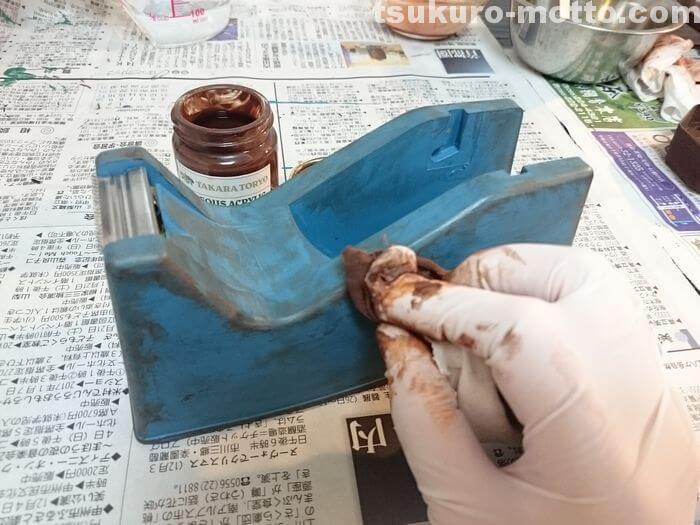 セロハンテープ台リメイク BrownRustの塗装