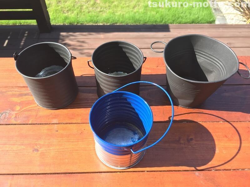 100均ブリキ缶リメイク プランター チョックボード塗装2