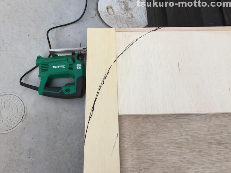 トランク中敷棚DIY R曲面墨線