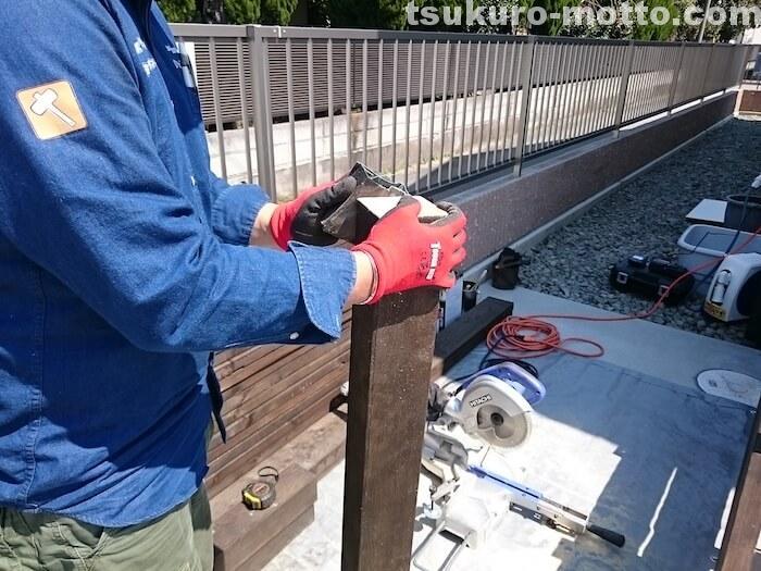 ウッドデッキDIY 柱の取り付け1